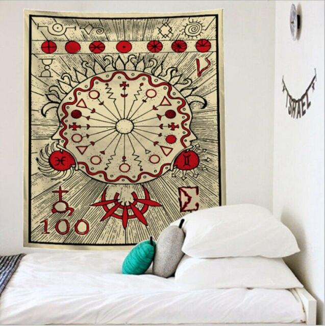Tapisserie indienne à décoration de dortoir | Tarot carte imprimé, carte 2019, tapisserie murale Hippie, couverture de chambre à coucher, couvre-lit, décor de dortoir