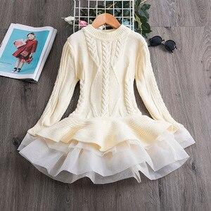 Осенне-зимние вязаные свитера; Платье для маленьких девочек; Детские платья-пачки для девочек; Одежда для маленьких девочек; Детские вечерние платья принцессы