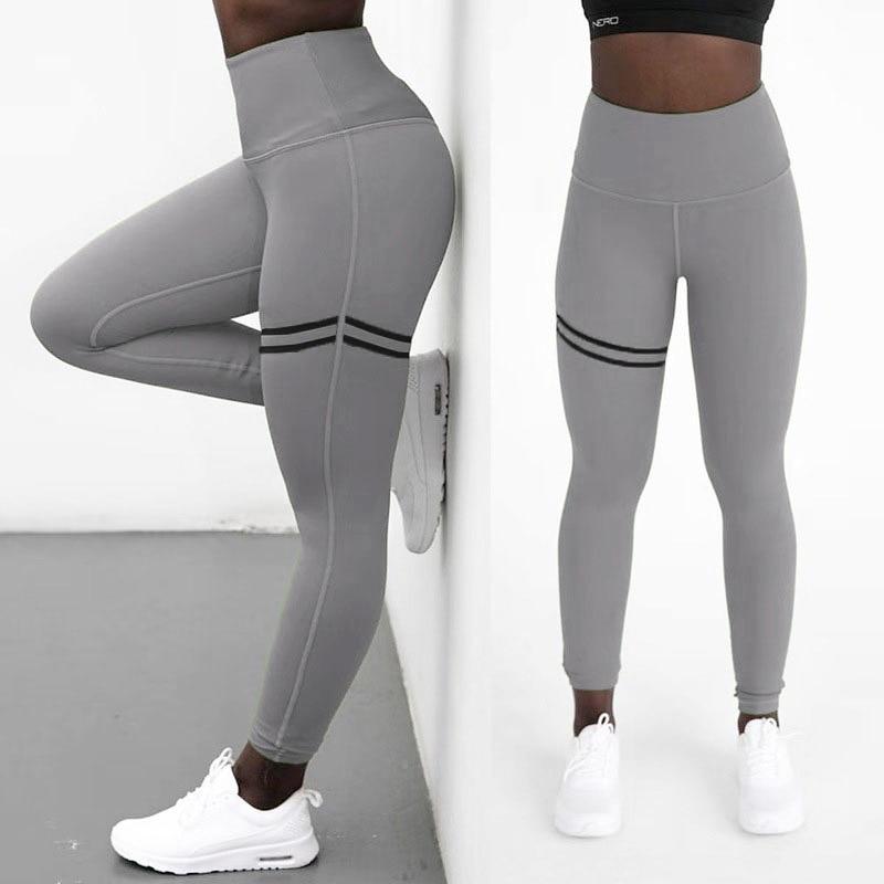 High Waist Up Gel Printing Splice Hip Elastic Sweat Absorption Movement Foot European And American  Leggings