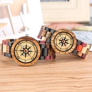 Image 3 - יוקרה גברים של שעון ייחודי מצפן חיוג עץ שעון גברים מעורב צבע מלא עץ להקת שעון נשים שעון רטרו שעוני יד relojes