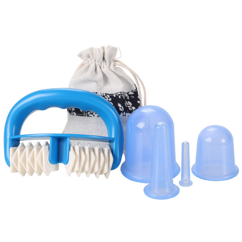5pcs/Set Silicone Anti Cellulite Cup Vacuum Massage Cups Body Pain Relief Massage Roller Manual Suction Cups Cupping Therapy Kit