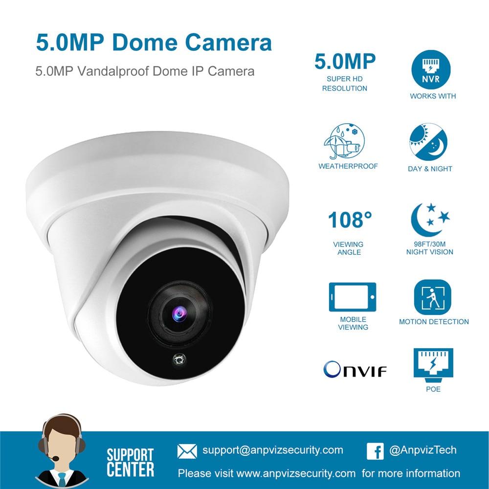 Anpviz (kompatybilny z Hikvision) IPC-D350 5MP POE kamera IP dom/bezpieczeństwo zewnętrzne wideo cctv nadzór DHCP ONVIF P2P