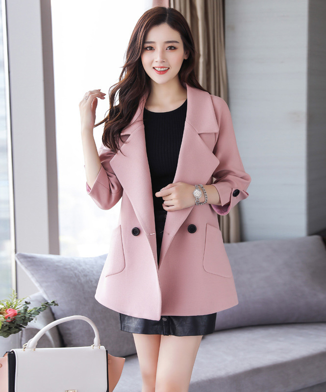 Autumn jacket women M-2XL plus size pink green beige coat 19 new long sleeve lapel fashion short paragraph jacket feminina LR484 33