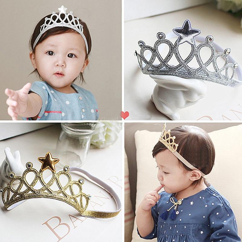 2019 New Cute Children Girls Elastic Headband Crown Diademas Para Mujer Kawaii Pearls Tiara De Cabelo Kids For Birthday Party
