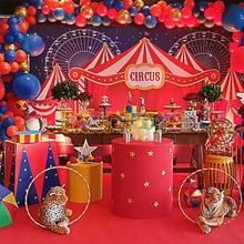 Circus Theme 1st Birthday PARTYฉากหลังBaby Showerการถ่ายภาพพื้นหลังผ้าม่านFerrisล้อDecorแบนเนอร์ปรับแต่งโปสเตอร์
