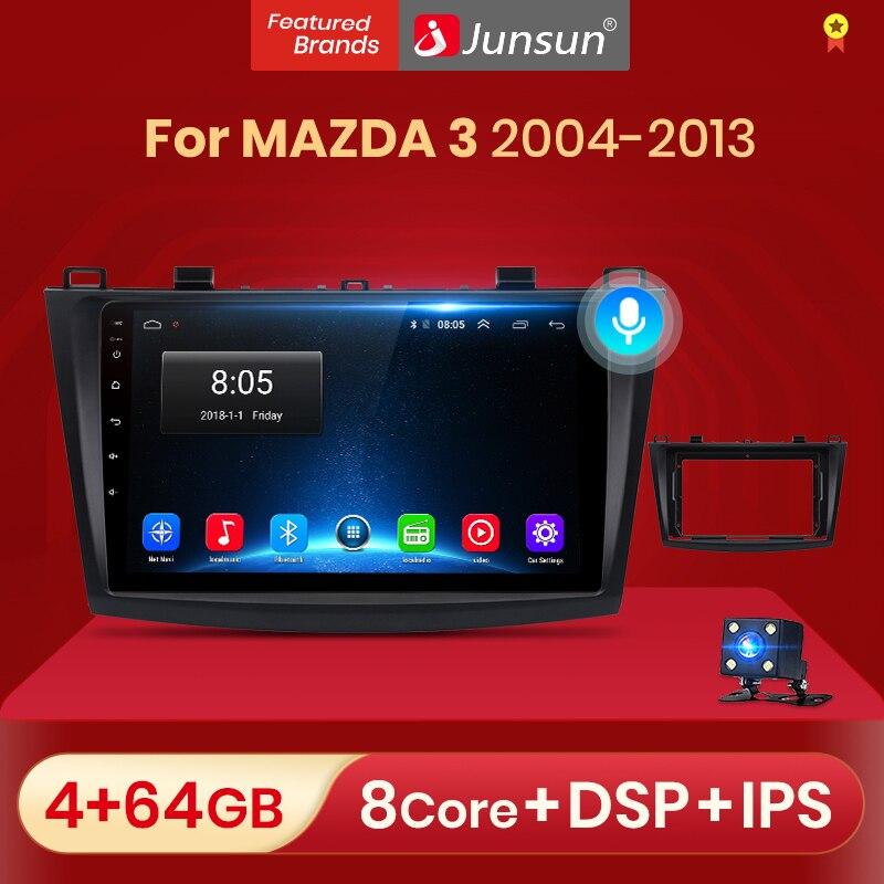 Junsun V1 Android 10 ИИ Голосовое управление автомобильное Радио мультимедийный плеер видео для 2004 2005 2006 2007 2008 2009-2013 навигация магнитола for мазда 3 bk No...