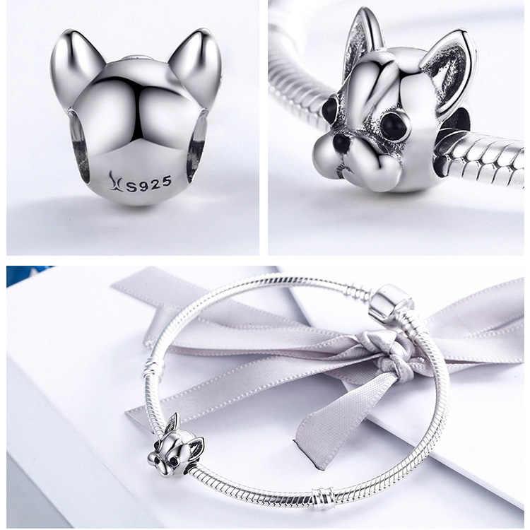 BISAER 925 Sterling Silver Adorável Teddy Cão Poodle Animais Contas Encantos Fit Pulseiras DIY Acessórios Da Marca Original HSC152