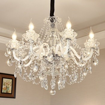 Transparent K9 crystal 6/8/10/12/15/18 head chandelier Living room dining room bedroom study home light Commercial Lighting