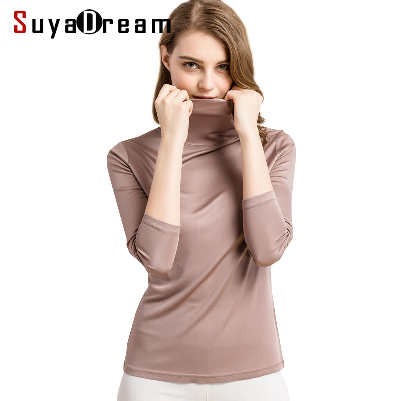 SuyaDream Women Silk Shirts Turtleneck Long Sleeved Solid Pullovers Slim Fit Bottoming Shirt 2020 Spring TOP XXXL