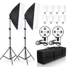 Kit de Softbox de fotografía y vídeo para estudio fotográfico, caja de luz de 50x70CM, soporte de cuatro lámparas E27 con 8 Uds. De bombilla de 20W, accesorios de caja suave