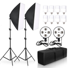 Photo Studio Video Photography Softbox Lightbox Kit 50x70CM Four Lamp Softbox  E27 Holder With 8pcs 20W Bulb Soft Box Accessorie