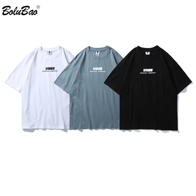BOLUBAO Brand Men's T-Shirt Fashion New Simple Street Letter Print Top Japanese Style Comfortable Fabric Male T Shirts