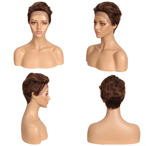 Image 2 - Sleek Short Human Hair Wigs Blonde Lace Front Wig For Women Remy Brazilian Hair Pixie Cut Wig FAST France USA Short Lace Wigs