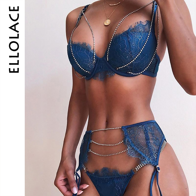 Ellolace Shiny Sexy Underwear Set Women Lingerie Bra & Brief Sets Underwire Push Up Bralette And Panties 2020 Sexy 3 Piece Sets