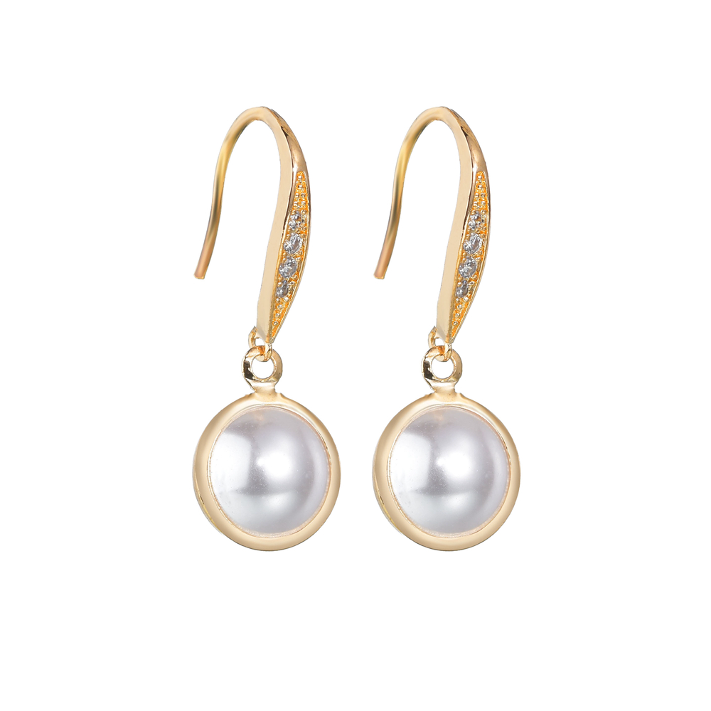 2019 Korea Style Simple pearl earrings for women fashion CZ Stone hook earrings wedding party jewelry accessories