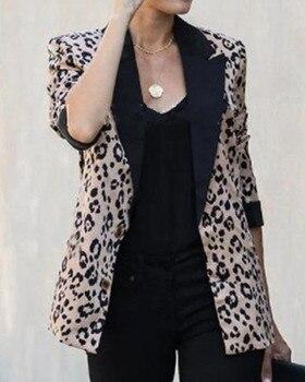 hirigin Women Long Sleeve Blazer Office new Work Jackets Ladies fashion Coat Cardigan female casual slim formal Leopard coats