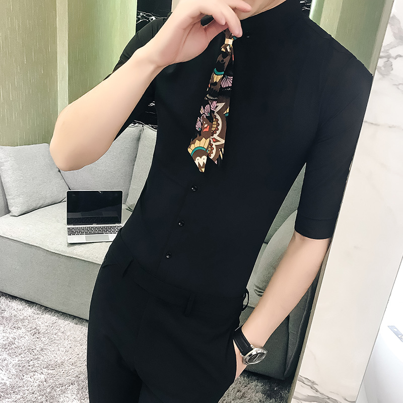 British Style Half Sleeve Men Dress Shirt Plus Size 5XL Party/Prom/Club Tuxedo Shirt Slim Fit Streetwear Casual Shirts With Tie