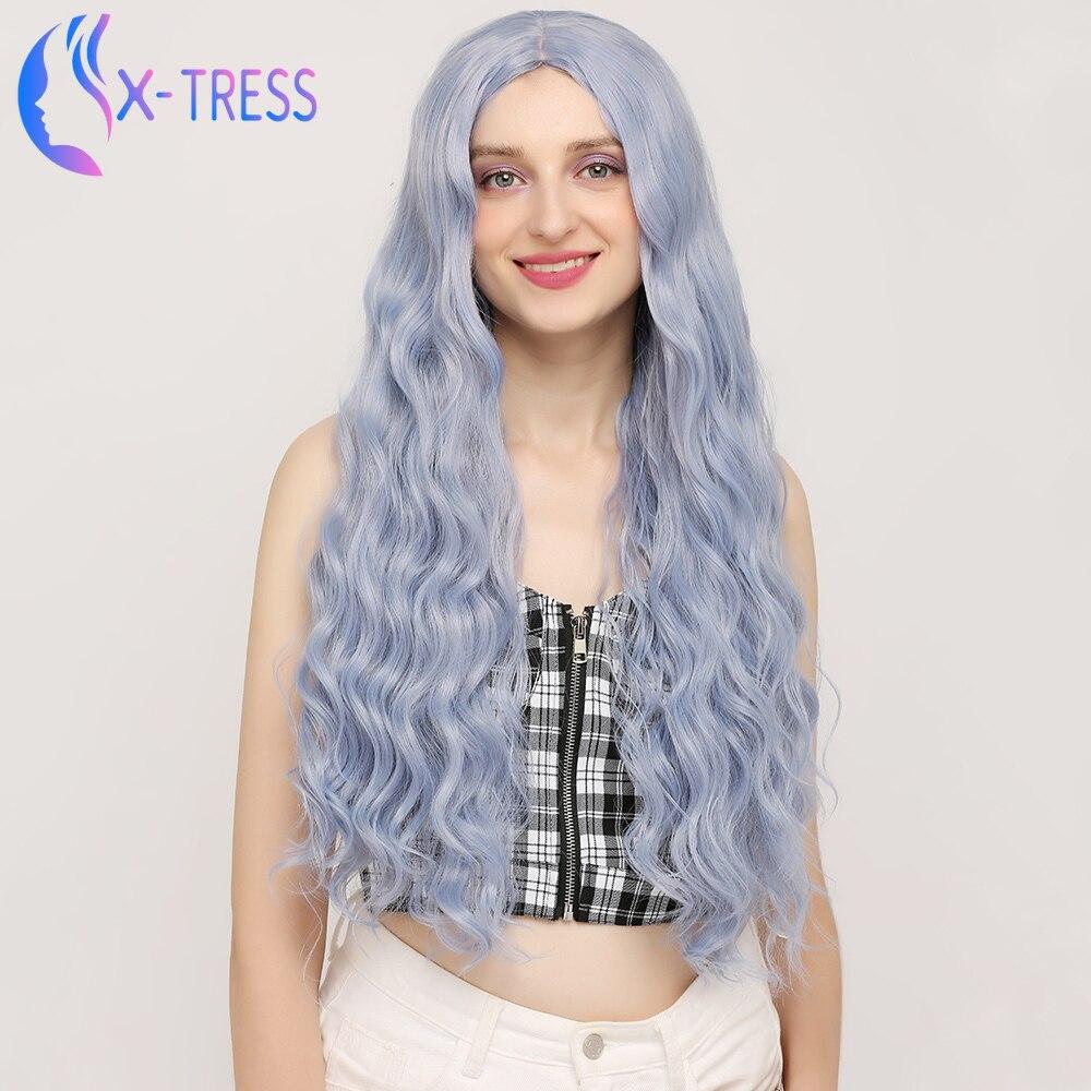 X-TRESS Synthetische Perücke Blau Farbige 26 zoll Lange Wasser Welle Perücken Maschine Gemacht Hitzebeständigem Haar für Frauen Cosplay Perücke