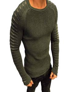 Men Sweater Pullover Knitwear Long-Sleeve Fashion Round-Neck Homme