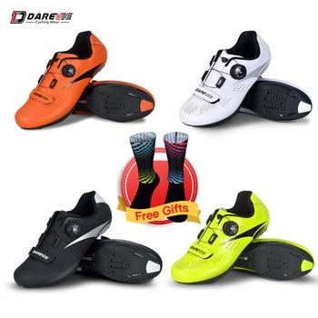 Darevie estrada ciclismo sapatos luz pro ciclismo sapatos respirável anti derrapante sapatos de corrida de alta qualidade sapatos de bicicleta olhar SPD-SL 1