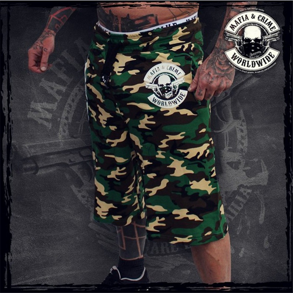 European And American New Trends Fitness Shorts Muscle Sport Wide-legged 5 Point Pants Casual Fashion Loose Camouflage Shorts