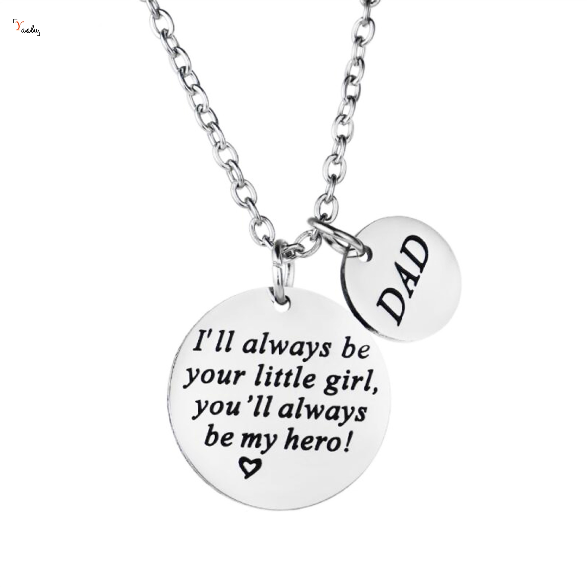 Dad necklace ll aways be your little girl pendant my dad my hero best DAD necklace keyring father's day gift image