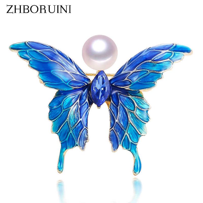 ZHBORUINI 2019 broche de perla natural azul esmalte mariposa alfileres perla de agua dulce joyería para Mujer Accesorios de regalo