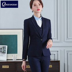 New high-end professional suit fashion plaid blazer and pants or skirt sales clerk hotel manager bank uniforms