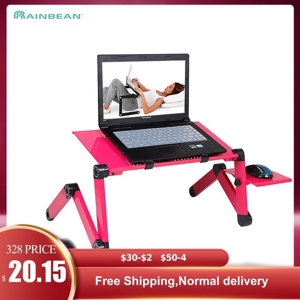 Adjustable Aluminum Laptop Desk Ergonomic TV Bed Laptop Tray PC Table Stand Notebook Table Desk Stand With Mouse Pad Pink|Laptop Desks| |  - title=
