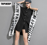 Korean Style cover Up patchwork Shirt Dress Punk stylish Women blouses Robe Femme