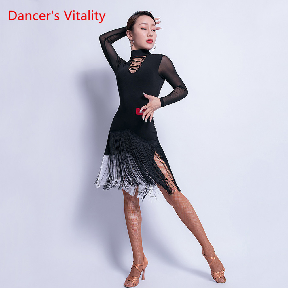 Latin Dance New Female Adult Dress Tassels Performance Practice Clothes Sexy Open Back Training Costumes Dance Skirt