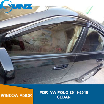 Side window deflector For VW POLO 2011 2012 2013 2014 2015 2016 2017 2018 sedan Door visor protector rain guard Car Styling SUNZ цена 2017