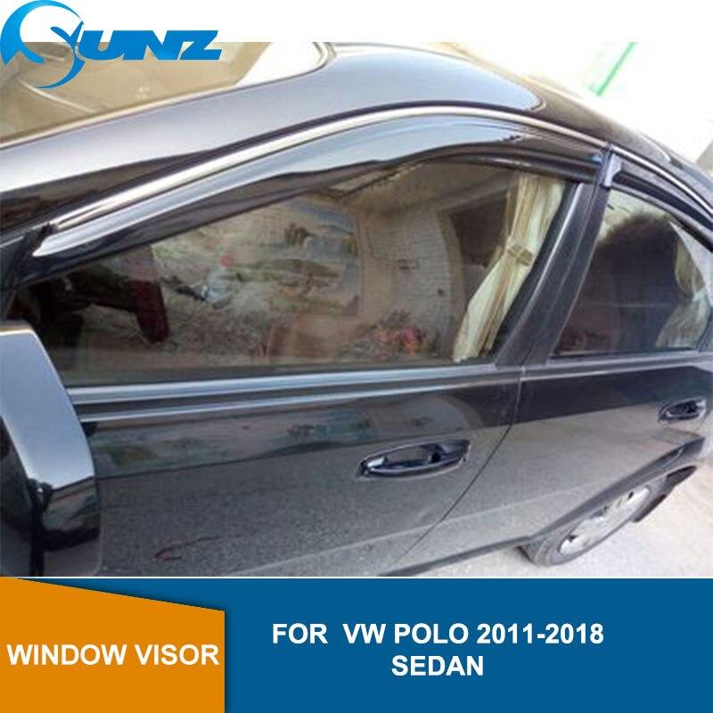 Side window deflector For VW POLO 2011 2012 2013 2014 2015 2016 2017 2018 sedan Door visor protector rain guard Car Styling SUNZ