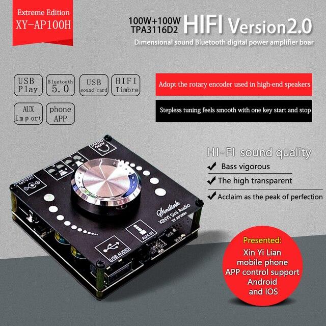 XY AP100H 100W + 100W Dual TPA3116D2 Bluetooth 5,0 estéreo de Audio Digital placa amplificadora de Audio AMP Amplificador USB AUX APP
