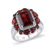 GZ ZONGFA Hot Sale Handmade Wedding Engagement Fine Jewelry Natural Garnet 925 Sterling Silver Ring For Party women 1