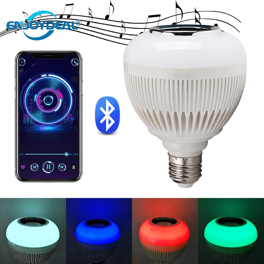 E27 Music Light Bulb <font><b>RGBW</b></font> <font><b>12W</b></font> Bluetooth Speaker <font><b>LED</b></font> Bulb Light Dimmable Light And music Playing For Party BBQ Smartphone Control image