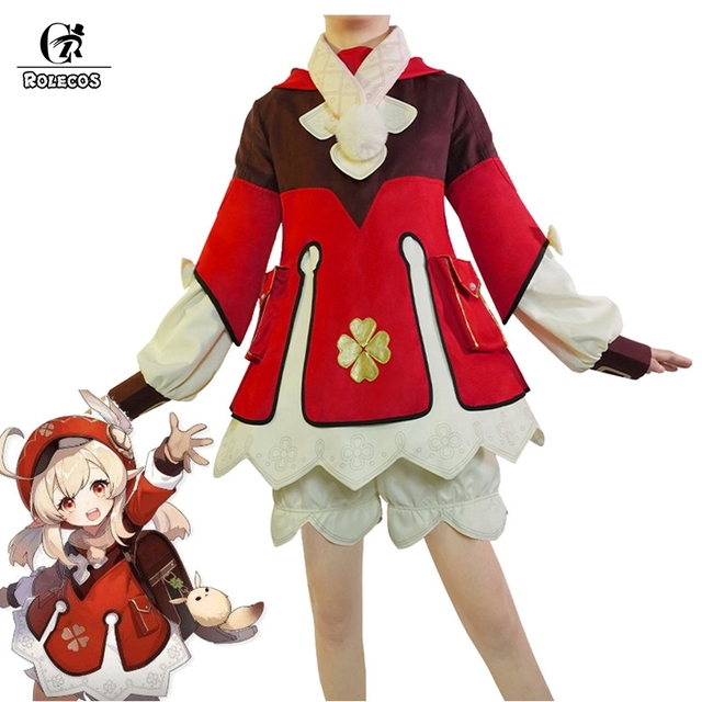 ROLECOS Genshin Impact Cosplay Costume Klee Cosplay Costume Women Red Costume Cute Girl Halloween Dress Pants Glove Hat Full Set 1