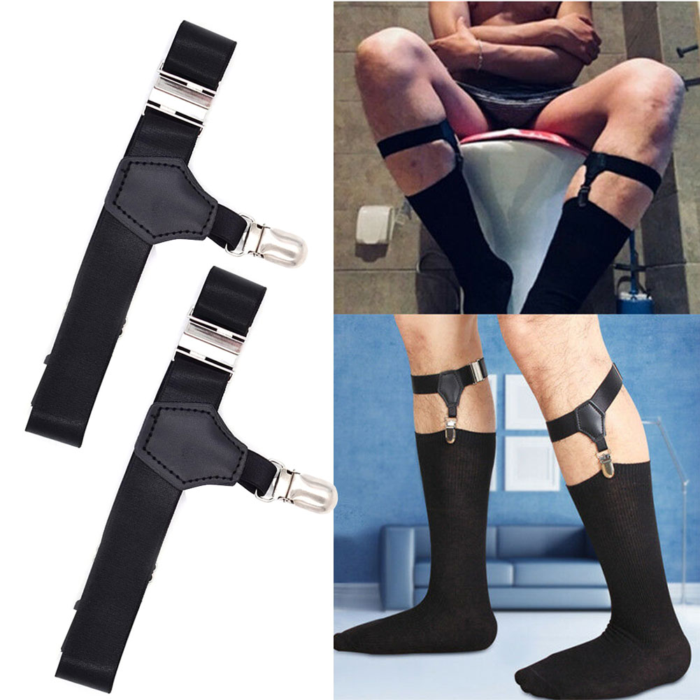 1 Pair Elastic Crease Resistant Adjustable Outdoor Men Socks Stays Non Slip Suspender Garters Holder Lightweight Anti Rust
