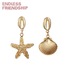 Endless Friendship New Sea Animal Earring Seastar and Seashell Earrings for Women Summer Beach Accessories Charms Pendant