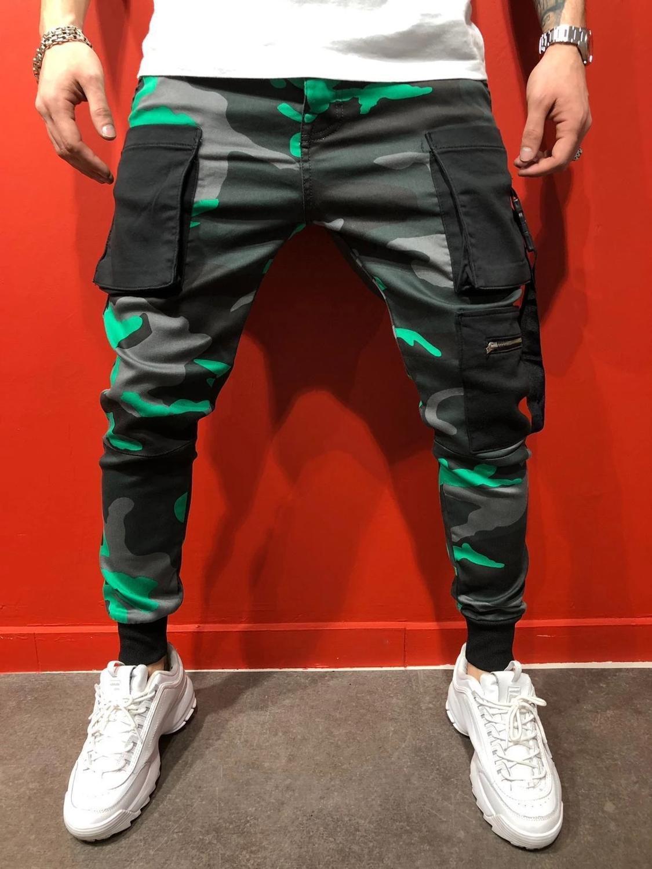 Men's Pants Fashion Big Pocket Sports Slim Camouflage Pants Jogger Yoga Pants
