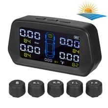 Sistema de supervisión de presión de neumáticos TPMS, funciona con energía Solar con 5 sensores externos, 6 funciones de alarma, pantalla en tiempo Real, presión de neumáticos