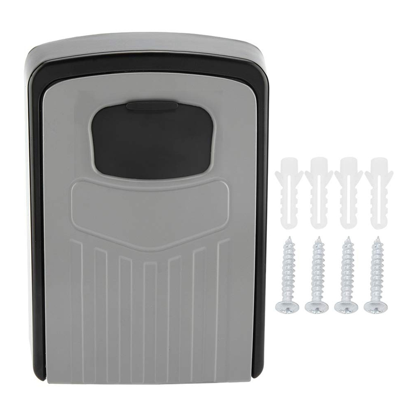 NEW-Key Box 4-Digit Adjustable Combination Password Key Box Premium Security Lock Organizer Wall-Mounted Key Storage Lock Box Gr