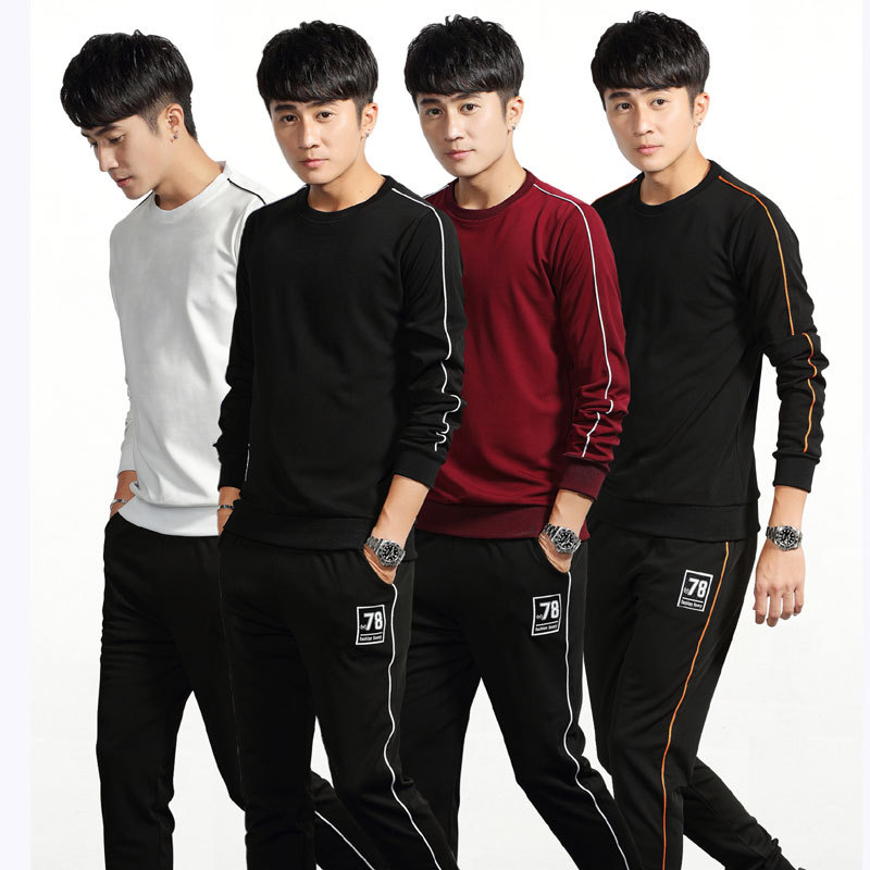 Autumn & Winter New Style MEN'S Long Sleeve Sports Set Male Two-Piece MEN'S Casual Suit Jogging Suits Two Set
