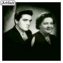 Elvis Presley dengan Ibu Persegi/Bulat 5D Lukisan Berlian Cross Stitch Potret DIY Diamond Seni Mosaik Bordir 50X50(China)