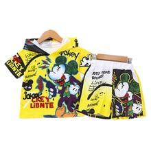 цена на Boys Kids Clothes Set Summer Mickey Spiderman Batman Hoodie T-shirt + Pants 2PCS Outfits Children Clothing Sport Suit Tracksuit