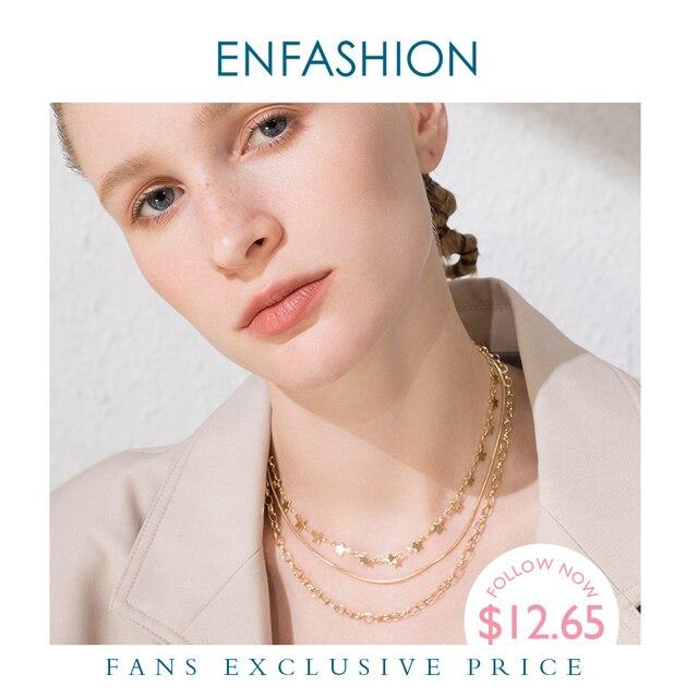 ENFASHION بوهو متعدد الطبقات ستار سلسلة المختنق قلادة المرأة الذهب اللون الفولاذ المقاوم للصدأ القلائد مجوهرات الأزياء keting P193035