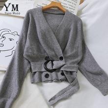 YuooMuoo Ins Мода элегантный v-образный вырез двубортный кардиган с поясом женский осенний вязаный свитер Харадзюку женские джемперы