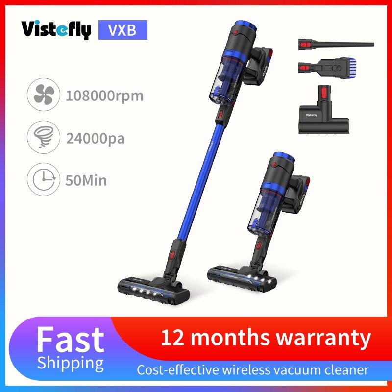 Беспроводной пылесос Vistefly VXB, домашний перезаряжаемый ручной пылесос, мощность всасывания 24 кПа, работает до 50 минут