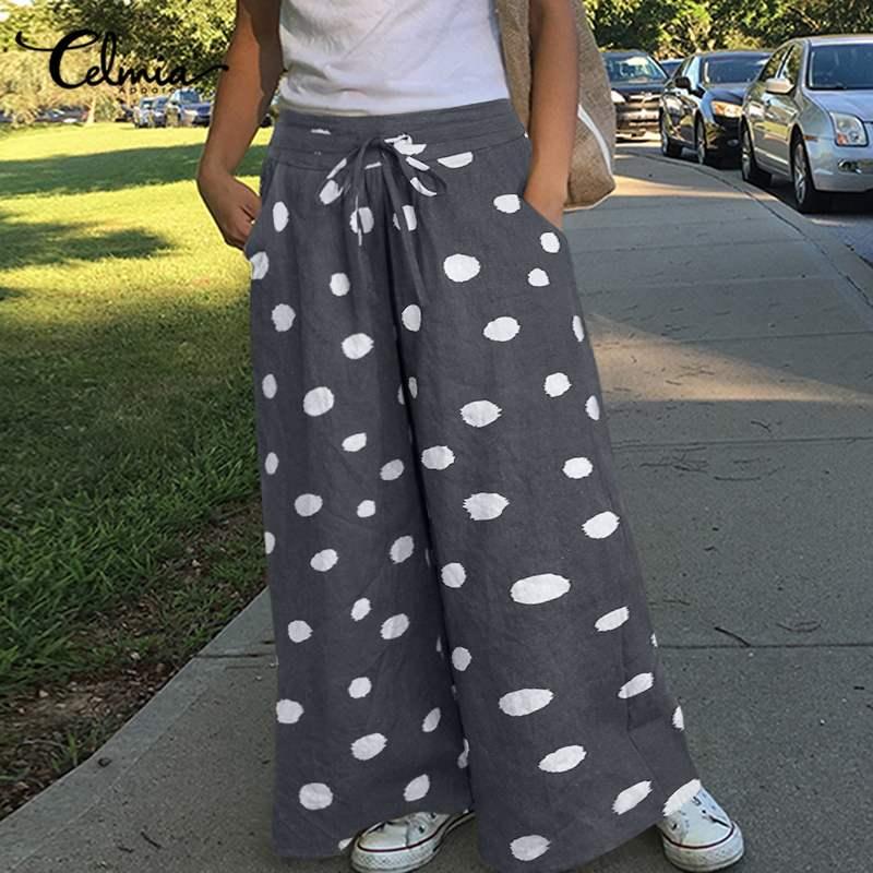 Autumn Polka Dot Printed Women's Wide Leg Pants Celmia Fashion High Elastic Waist Long Trousers Plus Size Loose Vintage Pantalon