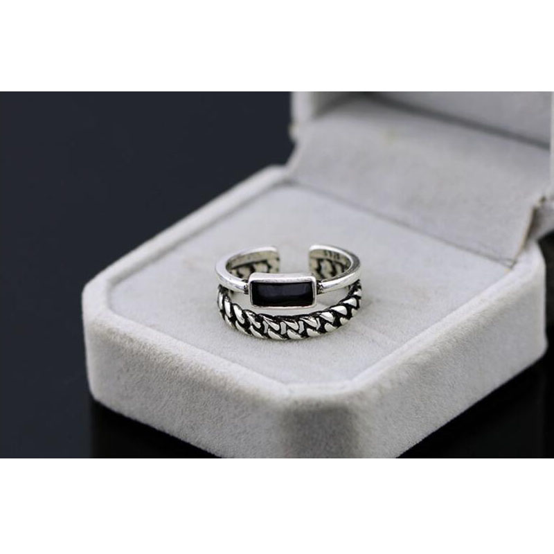 Upscale 925 Sterling Silver Opening Ring Two Rows Twist Chain Irregular Epoxy Thai Silver Ring For Women Bague S-R136